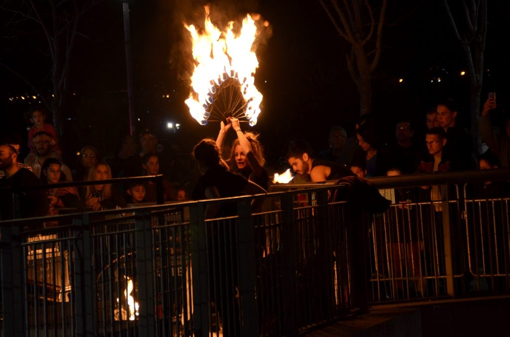 Performer with fir torches on Hanukkah at Jaffa Gate