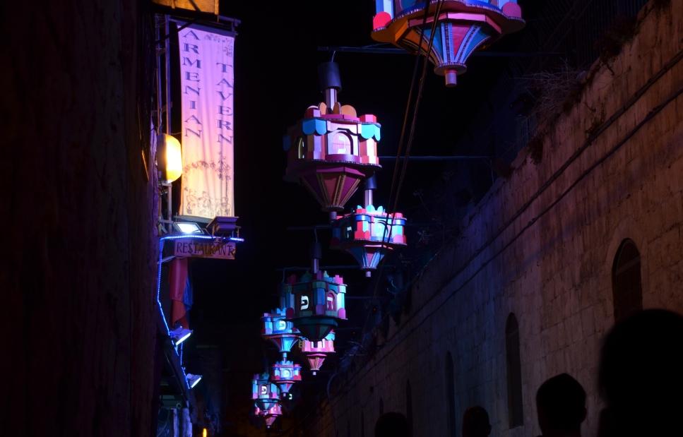 Hanukkah dreydels as decoration in Old City