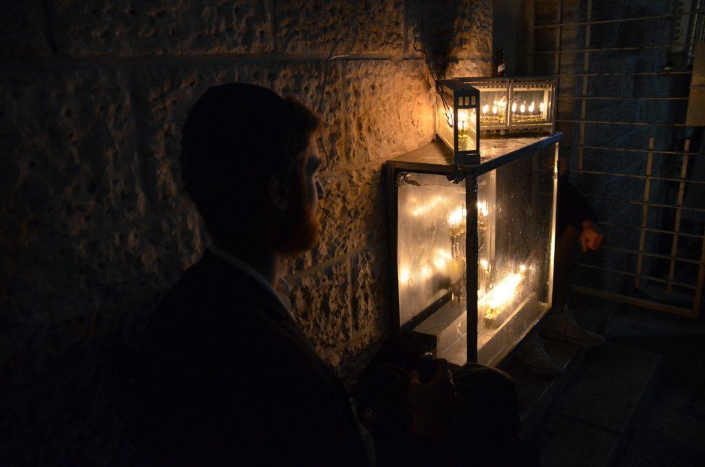 Jerusalem Israel Hanukkah lights on street