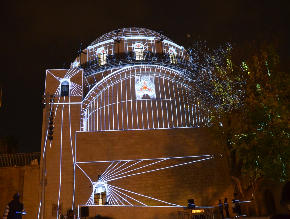 Lights on Hurva Synagogue on Hanukkah night Jerusalem