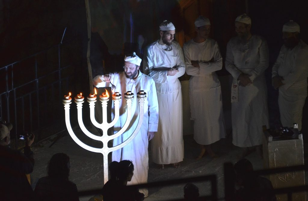 Old City lighting of menorah in costume as Jewish Temple priests