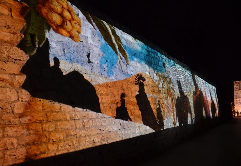 Wall in Old City with light projection with Macabbe features