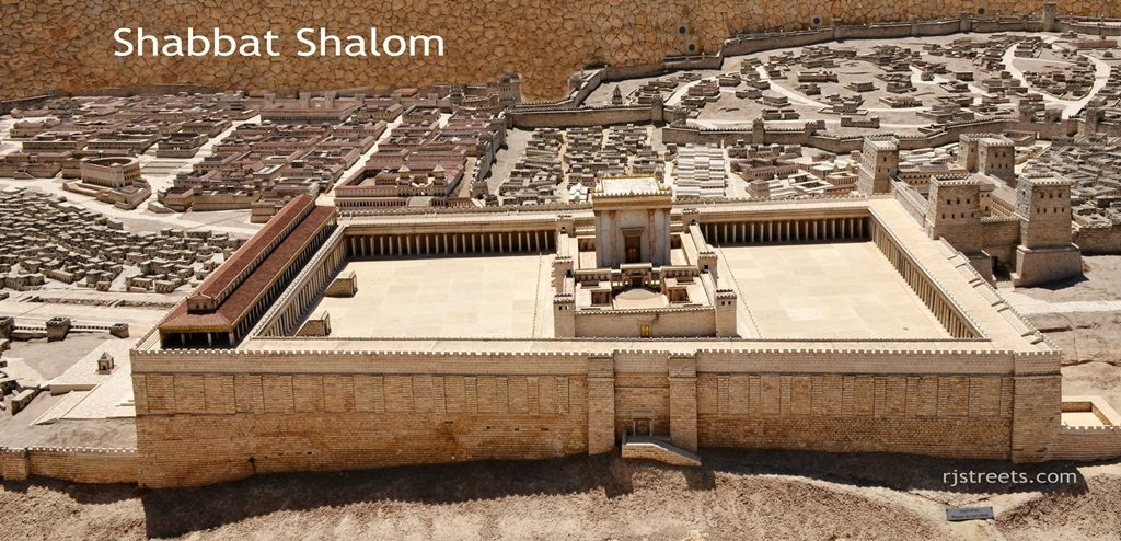 Poster Shabbat Shalom on Jewish Temple model at Israel Museum
