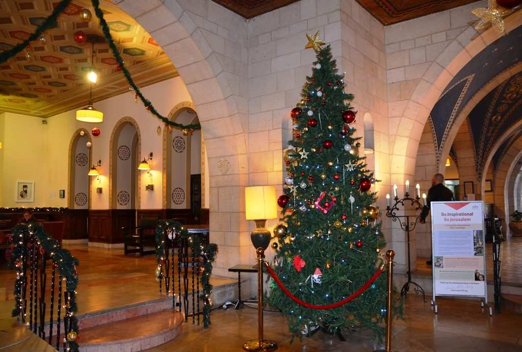 Jerusalem Israel YMCA Christmas tree in lobby