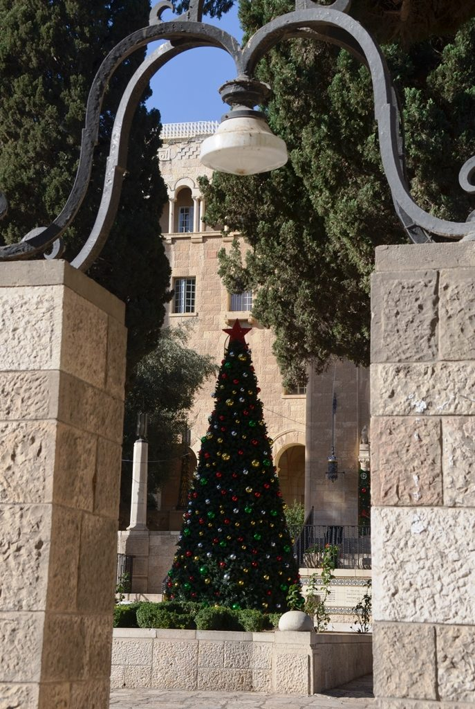 Christmas tree at YMCA Jerusalem Israel
