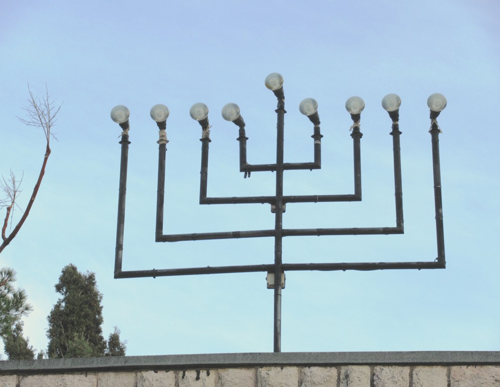 Menorah for Channuka on roof top in Jerusalem Israel