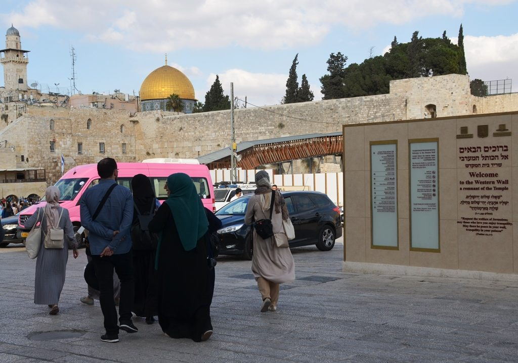 Arab girls at Western Wall plaza