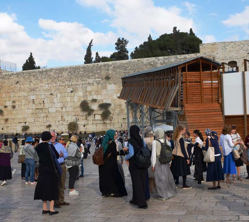 Arab girls going to Western Wall