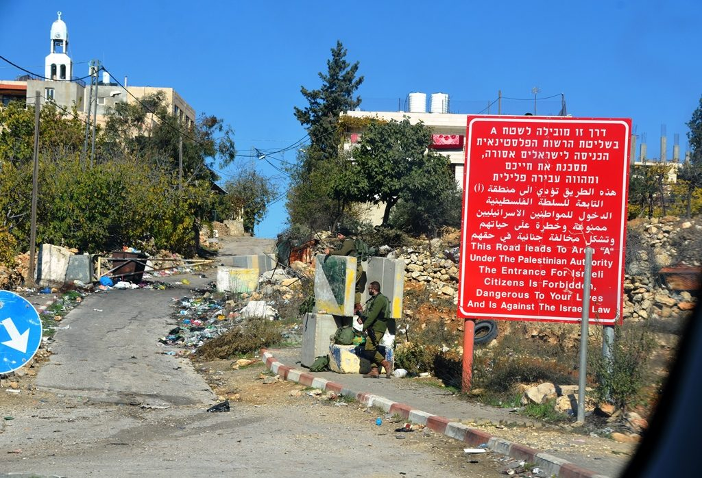 On road to Efrat red warning Israel prohibiting Israelis to enter way to Bethlehem