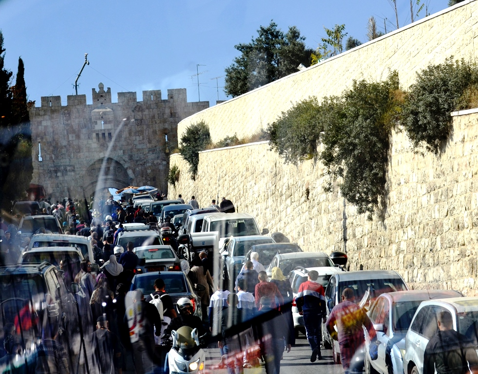 Jerusalem, Lion's Gate on Friday afternoon prayer time.