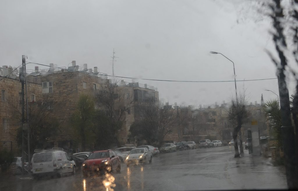 Rainy day in Jerusalem Israel, dark, wet and cold