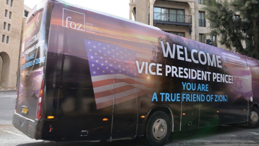 Bus painted to welcome US VP Pence to Jerusalem