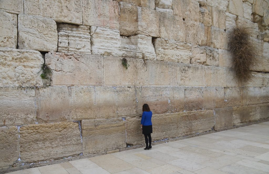 Karen Pence at Western Wall on visit to Jerusalem