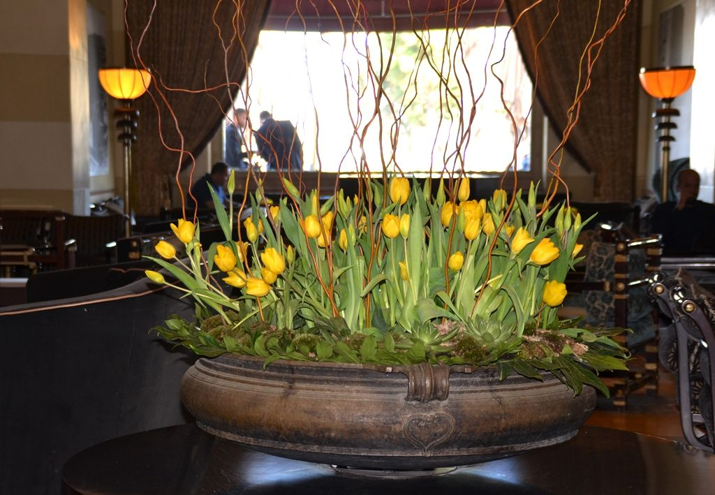 Flowers on display in King David Hotel lobby