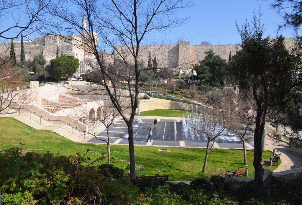 View of Teddy Park with wall of old city