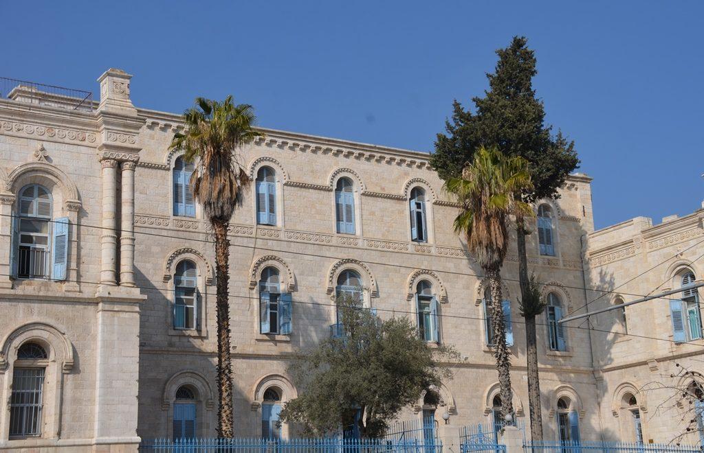 French Hospital in Jerusalem, Israel palm leaves brown