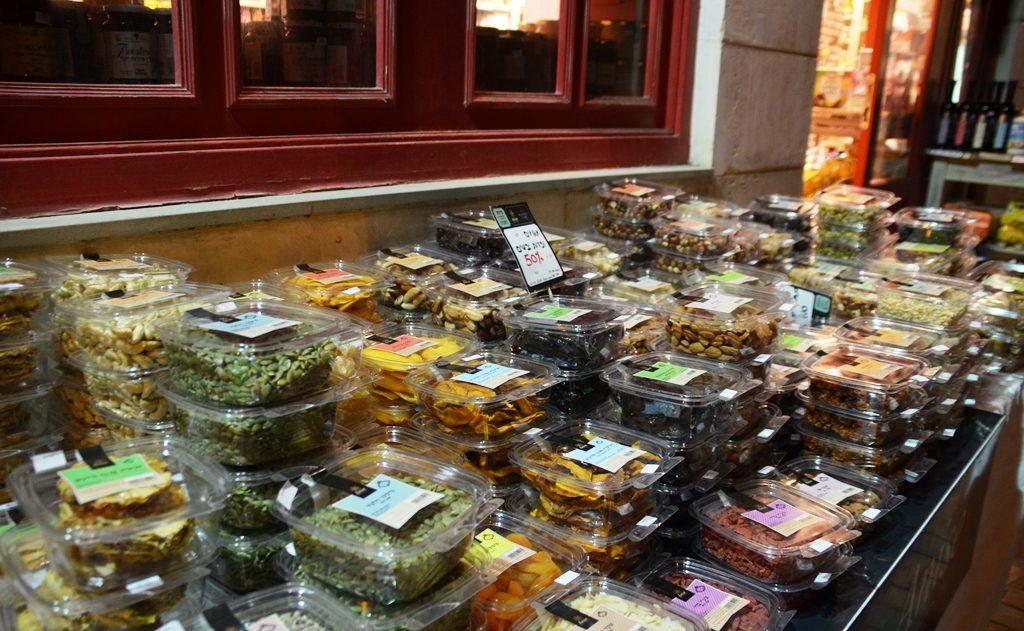 Tu Bishvat dried fruit at night outside shop for sale
