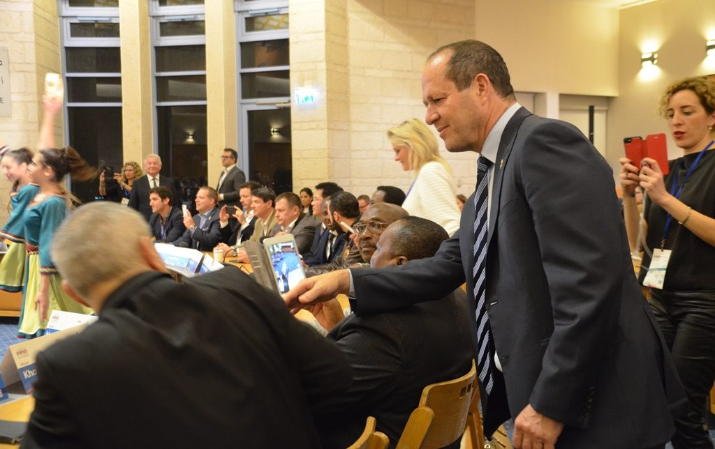 International Mayors Conference in Jerusalem, Israel, Nir Barkat greets visitors at Kikar Safra