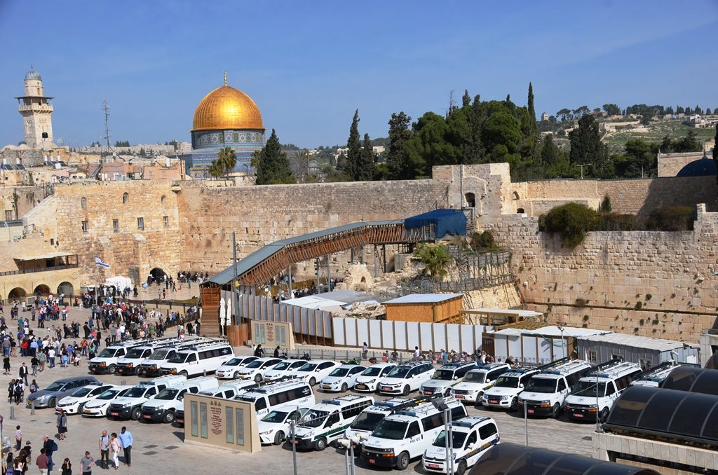 Police cars at Kotel on Friday Old City Jerusalem Israel