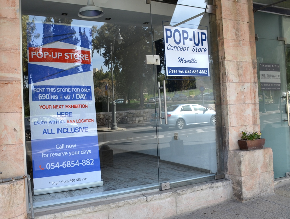 Store for rent on daily basis near Waldorf Astoria Jerusalem near Mamilla Mall