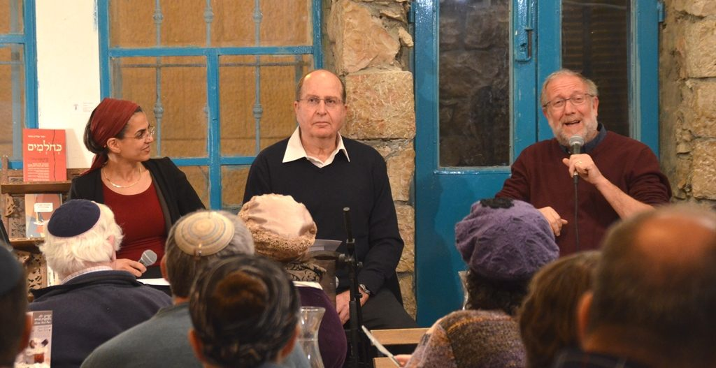 Panel Yossi Klein HaLevi with Moshe Boogie Ya'alon at Tmol Shilshom with Anat Mufkadi moderator