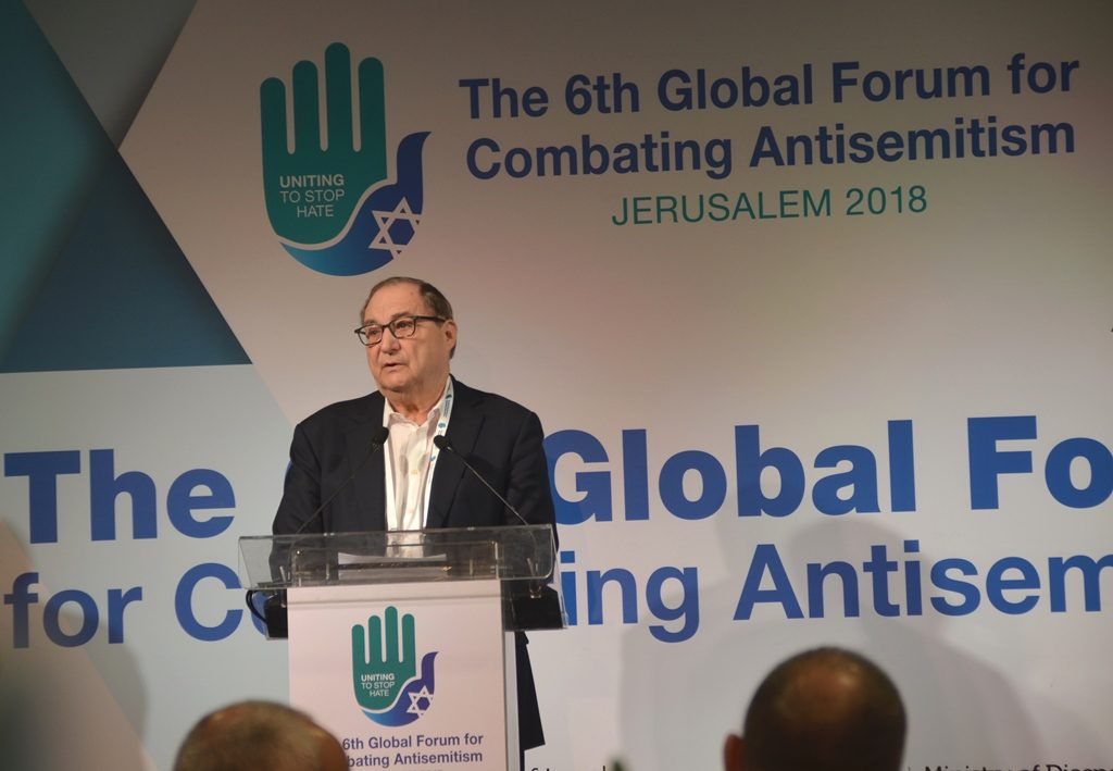 Abe Foxman introducing President of Bulgaria at Global Forum in Jerusalem Israel