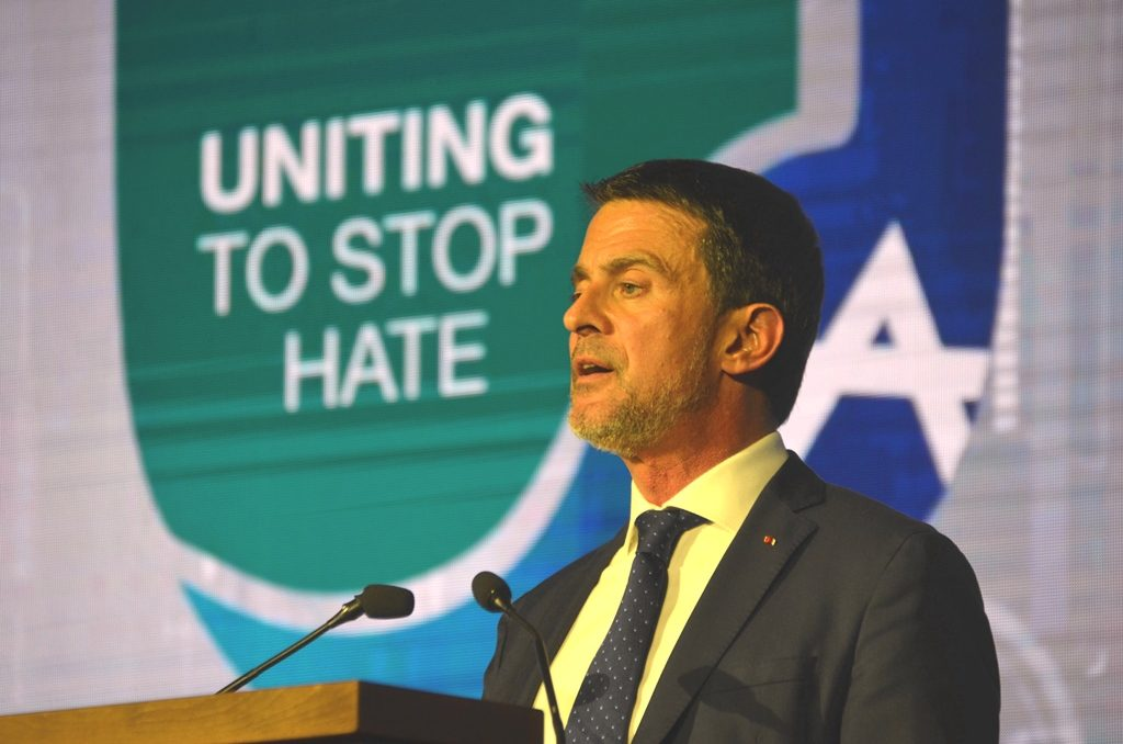 Former Prime Minister of France Manuel Valls speaking at Global Forum in Jerusalem Israel for Combating Antisemitism