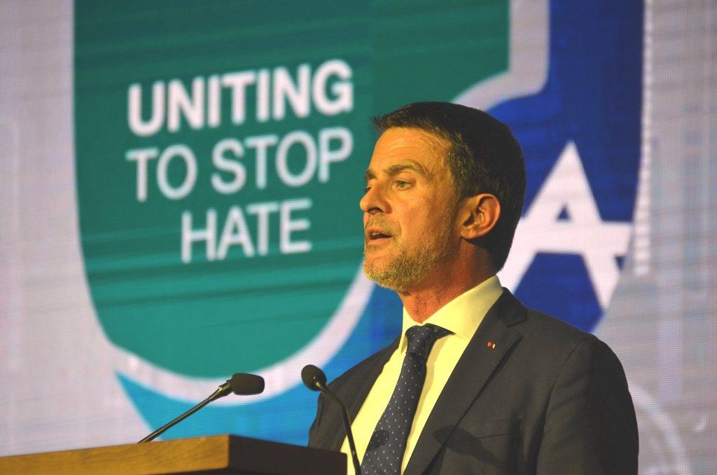 Former Prime Minister of France Manuel Valls speaking at Global Forum in Jerusalem Israel for Combating Antisemitism