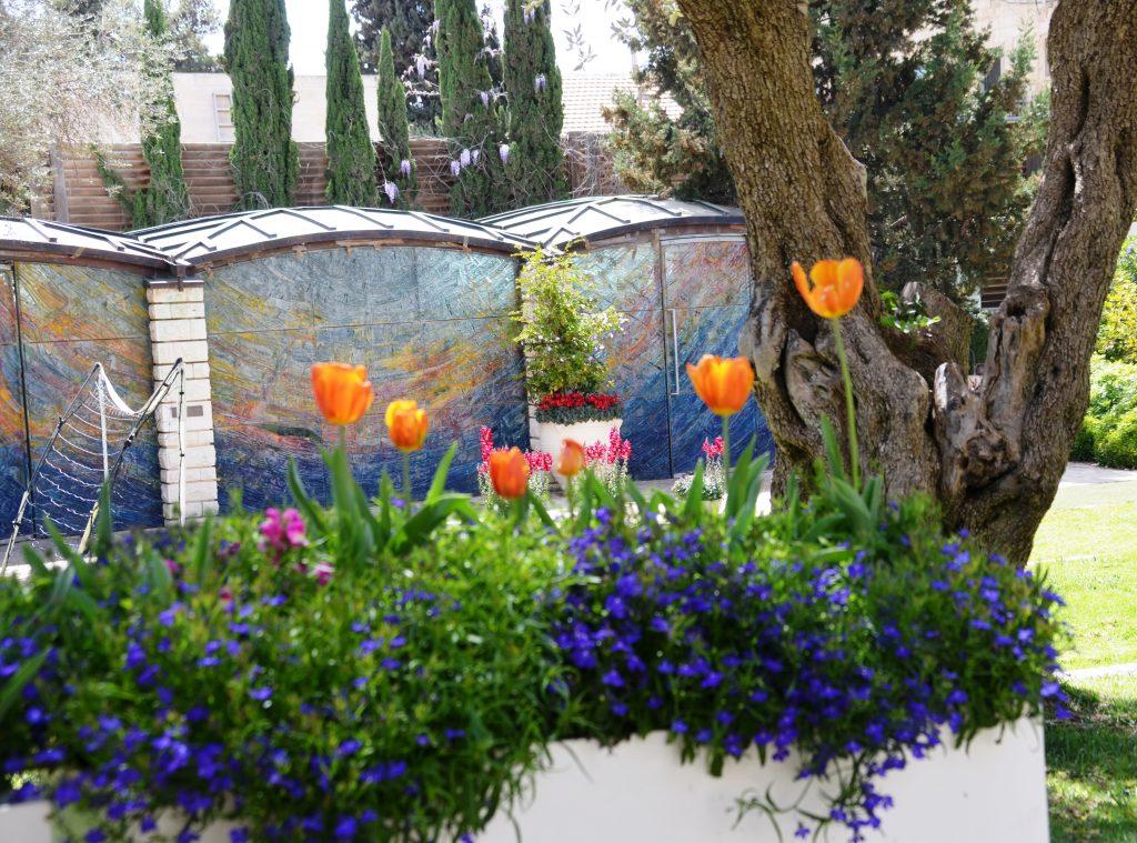 Spring flowers in Jerusalem, Israel in Beit Hanasi garden