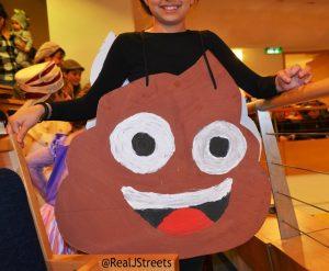 Jerusalem Purim costume poop emoji