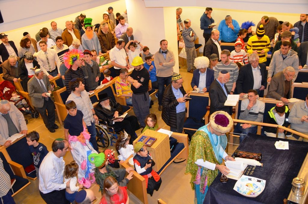 Purim for megila reading men in costumes