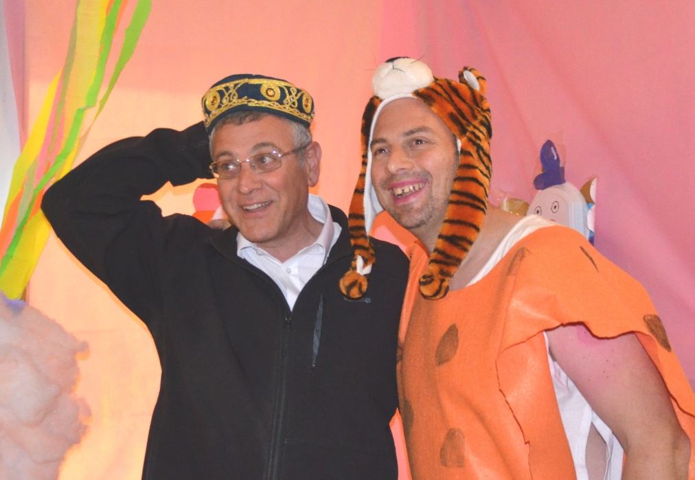 Rabbi Benny Lau poses in Purim costume with Yonks