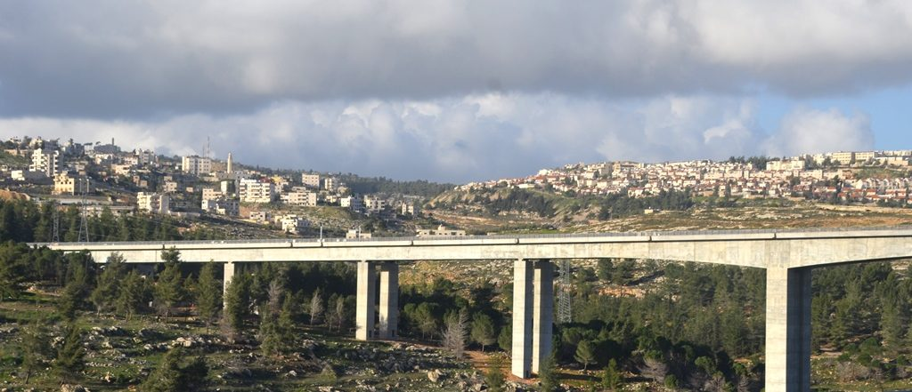 Bridge for Tel Aviv to Jerusalem fast train outside of Jerusalem as seen from highway