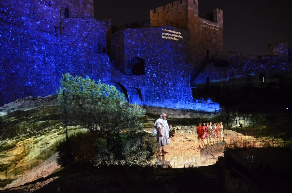 Scene young David at Tower of David show Jerusalem Israel