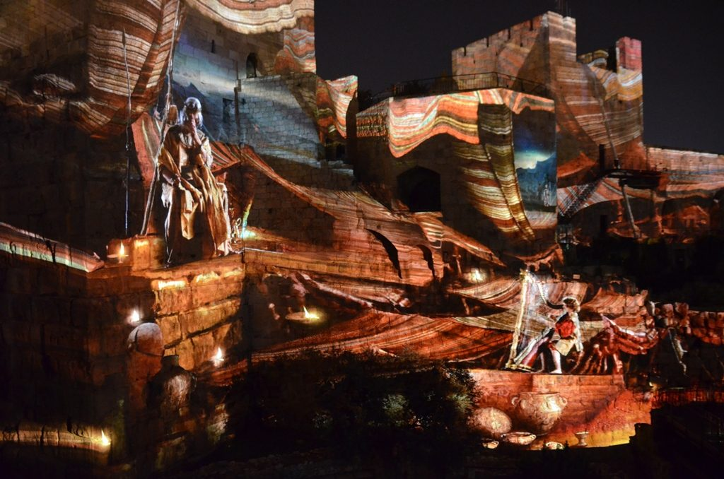 Tower of David night show scene with harp Jerusalem Israel