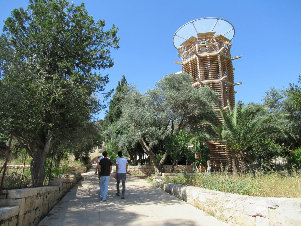 Main garden of Hansen House with Ester wood structure for Israel 70