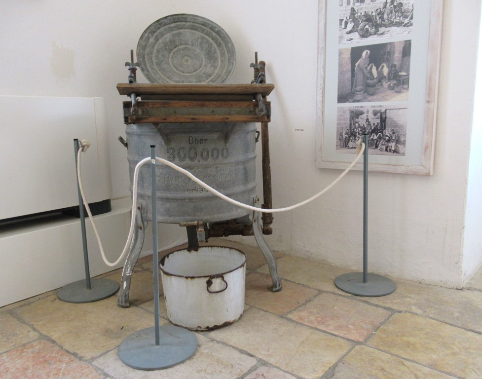 Old washing machine in Hansen House display of old Jerusalem