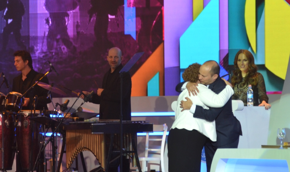 Naftali Bennett gets hug from Miriam Peretz at Israel Prize Award Ceremony