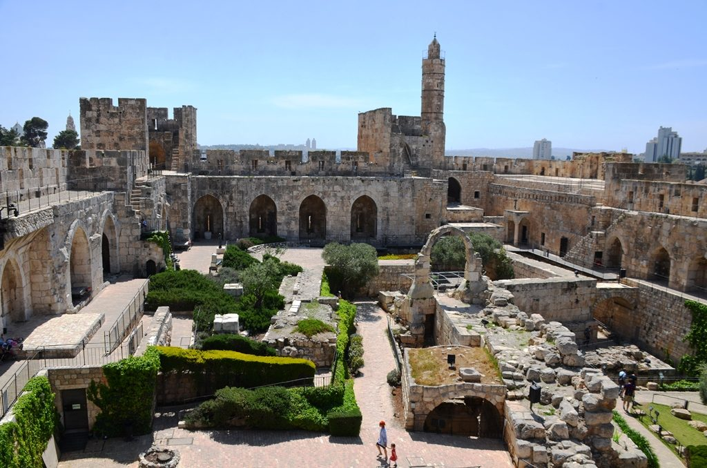 View of Tower of David inside Citadel on spring day of Passover