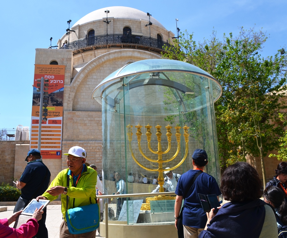 Menorah in Rova in front of Hurva Shul for construction of new elevator to Western Wall Kotel