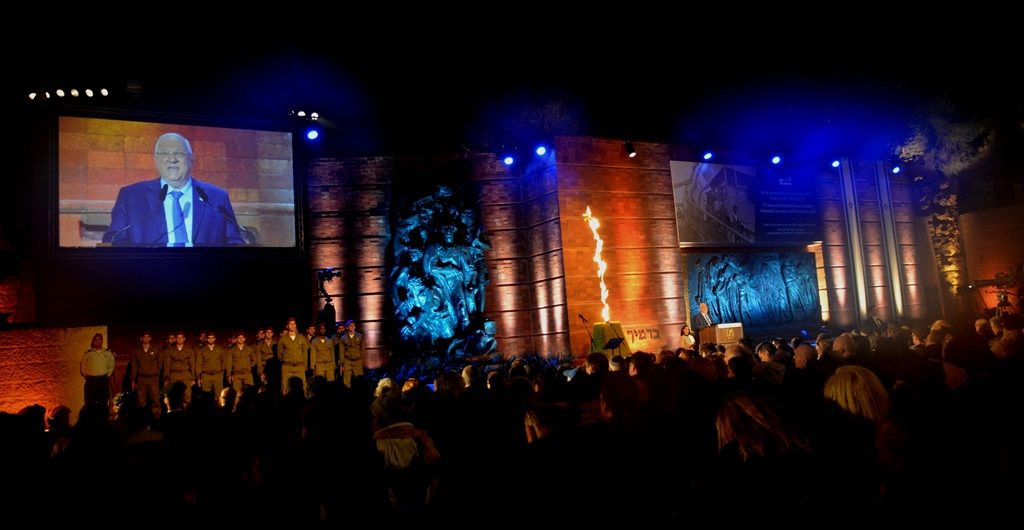 Stage at Yad Vashem for Yom HaShoah with memorial flame lit