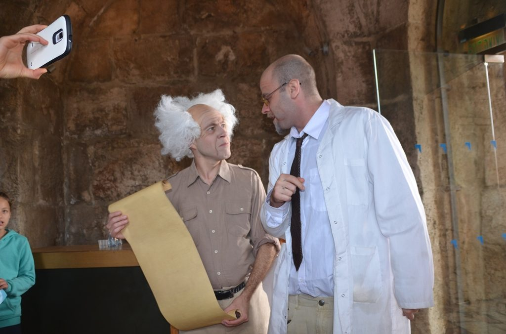 Actors dressed as Ben Gurion and Chaim Weixmann at Tower of David on Jerusalem Day