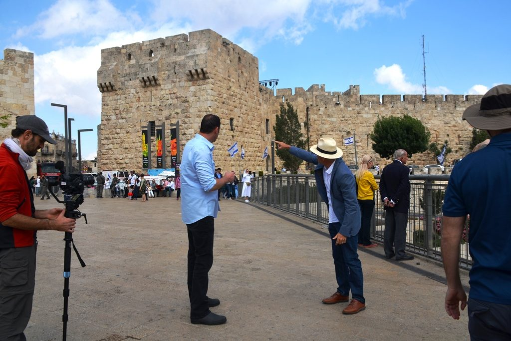 Watchman Erick Stakelbeck filming near Jaffa Gate.