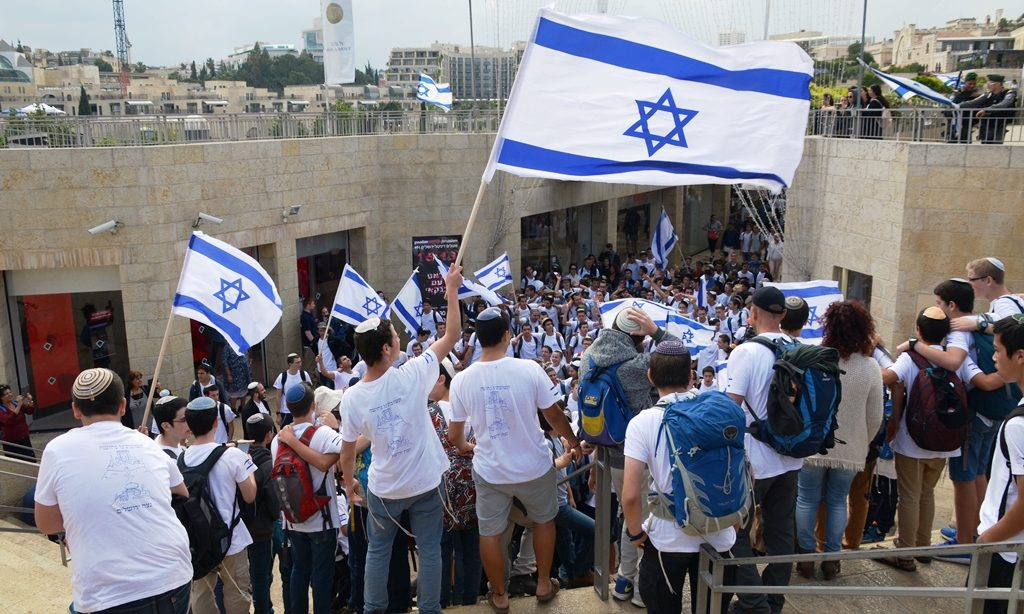 Dancing with Israeli flags on Jerusalem Day in Jerusalem Israel