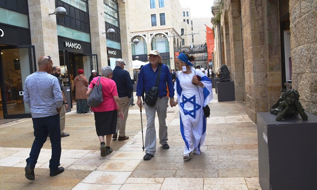 Women dressed as Israeli flag on Jerusalem Day in Jerusalem Israel