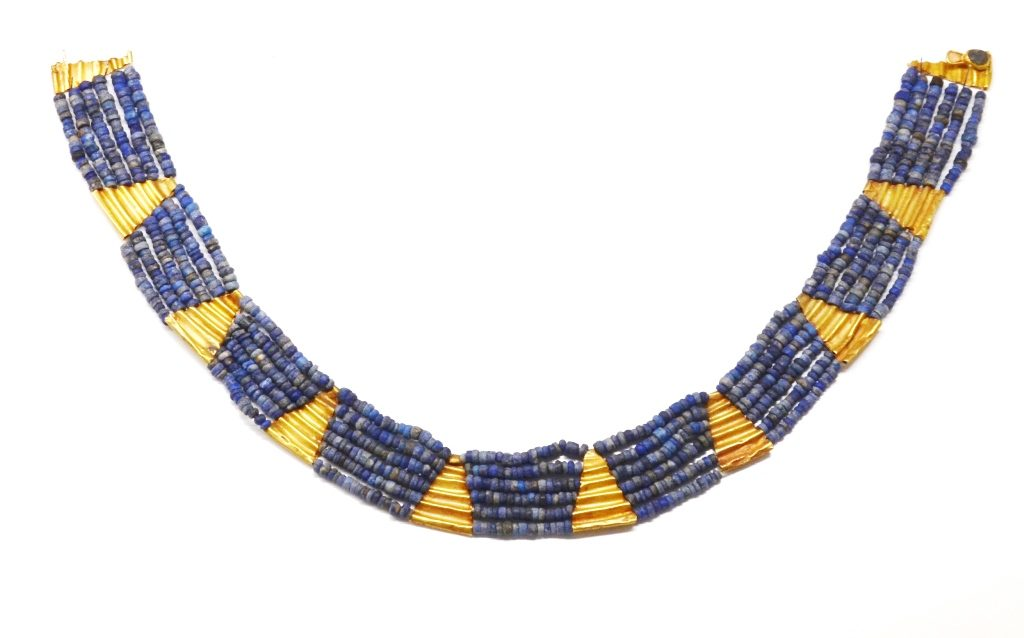 Gold and lapis lazuli necklace from South Mesopotamia 2700-2600 BCE