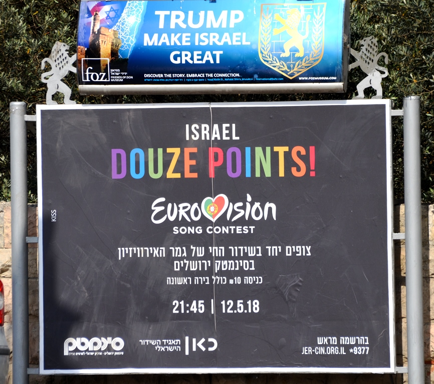 Street poster ads for Trump and 12 Points Eurovision
