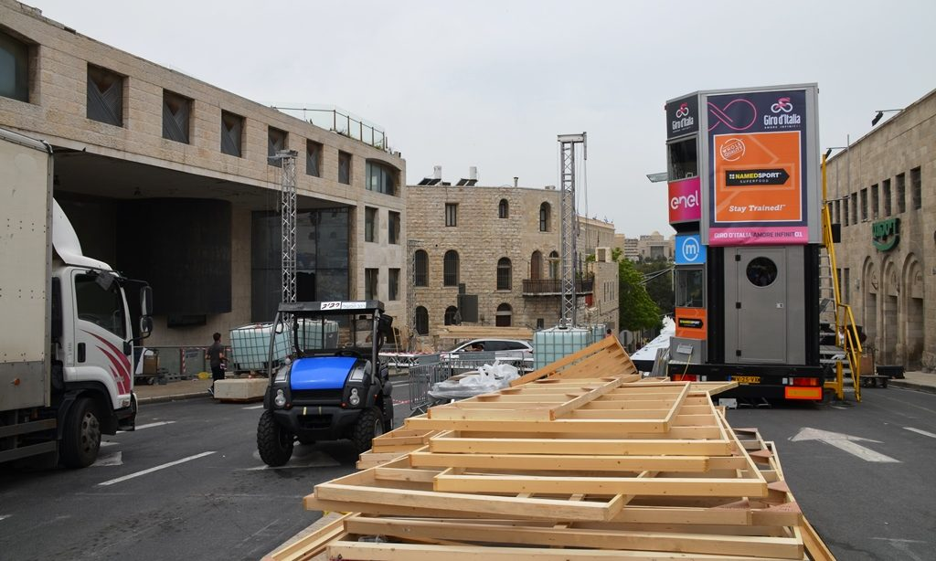 Giro d'Italia preparations in Jerusalem Israel