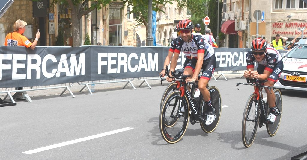 Jerusalem Giro d'Italia cyclists from UAE