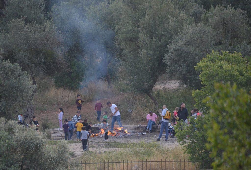lag B'Omer bonfire in Jerusalem, Israel